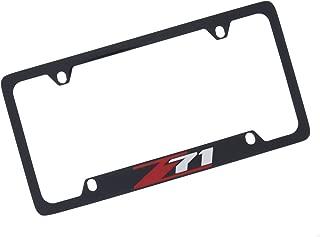 product image for Chevrolet Z71 Black Coated Metal Bottom Engraved License Plate Frame Holder