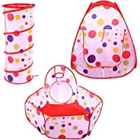 Tent for Kids, 3 in 1 Indoor Outdoor Play Tent Crawl Tunnel Ball Pit Easy to Assemble Portable Kids Foldable Tent with A…