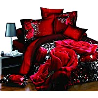 DACHENGXIAORUI 4Pcs/Set Red Rose Pattern 3D Printed Bedding Set Bedclothes Home Textiles King Size Quilt Cover Bed Sheet 2 Pillowcases(Size:200 x 230 cm)