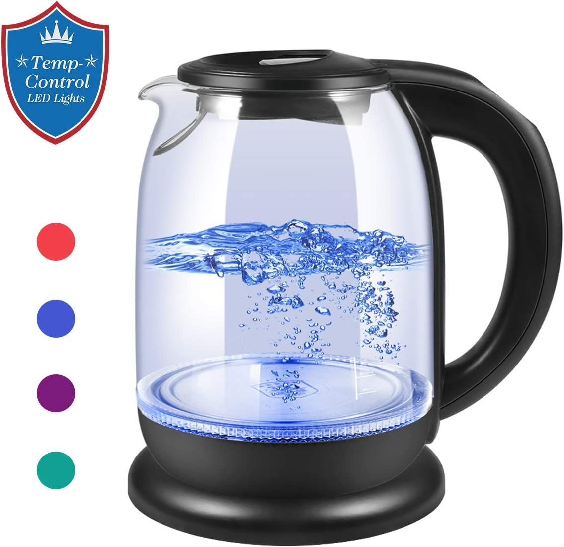 Electric Kettle, Glass Tea Kettle Water Boiler Variable Temperature Control Tea Heater with LED Indicator Light Change Auto Shut-Off, Boil-Dry Protection, Keep Warm 1.7 L Tea Kettle