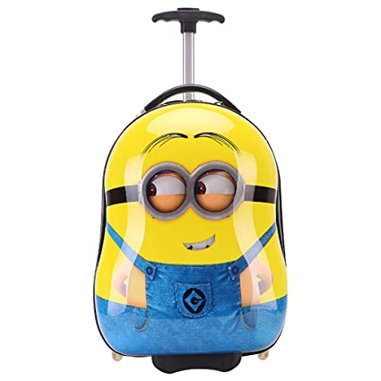 Gucili Maleta para Niños, Anime Cartoon Minions Equipaje para Niños Holiday Holiday Trolley Bags Light