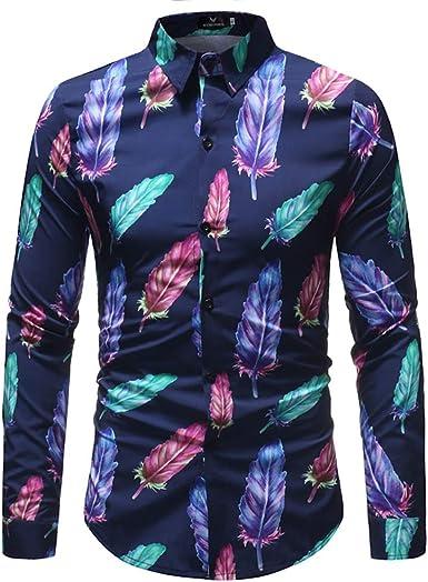Hombres Imprimir Camisa De Manga Larga De Algodón Slim Fit Floral Pluma Estilo De Vacaciones Camisa Hawaiana Top: Amazon.es: Ropa y accesorios