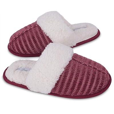 DL Women's Slippers Comfort Bubble Fleece Memory Foam House Slippers Indoor Outdoor Anti Slip Rubber Sole   Slippers