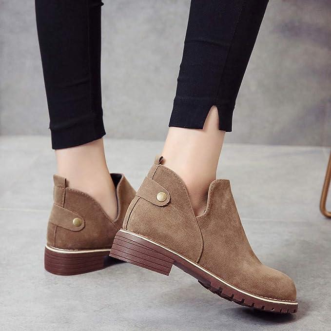 Limpieza para Zapatos, AIMTOPPY, Botas de Ante Liso de Color Liso para Mujer, Zapatos Redondos: Amazon.es: Electrónica