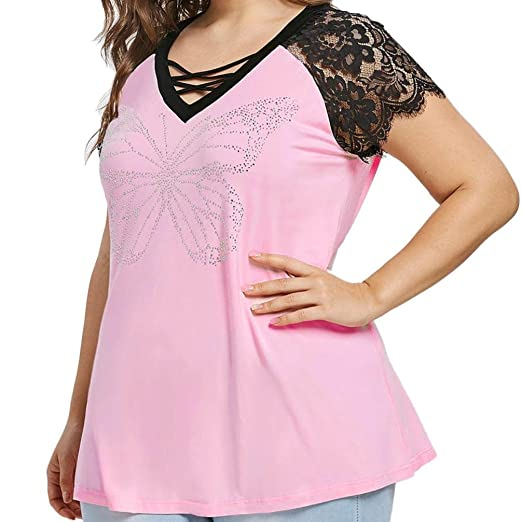 4d7d9d34246a69 MEEYA Tops Women's Beads Lace V-Neck Short-Sleeved Top Large Size Women  Wear Beads Lace V-Neck Cross Short Sleeve Casual Top at Amazon Women's  Clothing ...