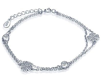 Unendlich U Vierblättriges Kleeblatt Damen Charm-Armband 925 Sterling Silber  Zirkonia Armkette Strangarmband Verstellbar Armkettchen Armreif, ... eb555da336
