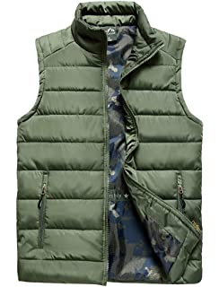 3be3536f25e Amazon.com  Vcansion Men s Outdoor Casual Stand Collar Padded Vest ...