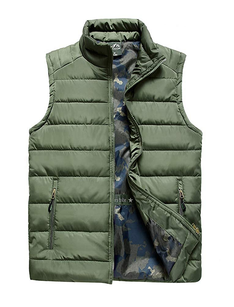 Vcansion Mens Outdoor Casual Stand Collar Padded Vest Coat