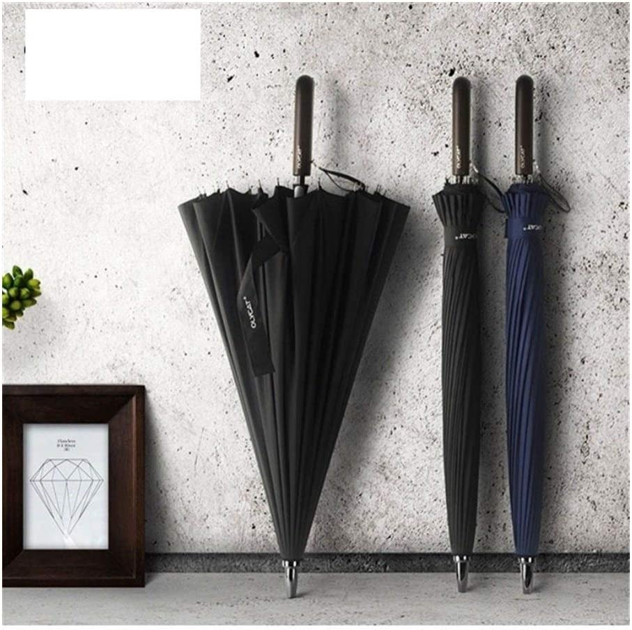 Color : Black, Size : 100CM ManYHM Brand Rain Umbrella Men Quality 24K Strong Windproof Glassfiber Frame Wooden Long Handle Umbrella Womens Parapluie Fashion