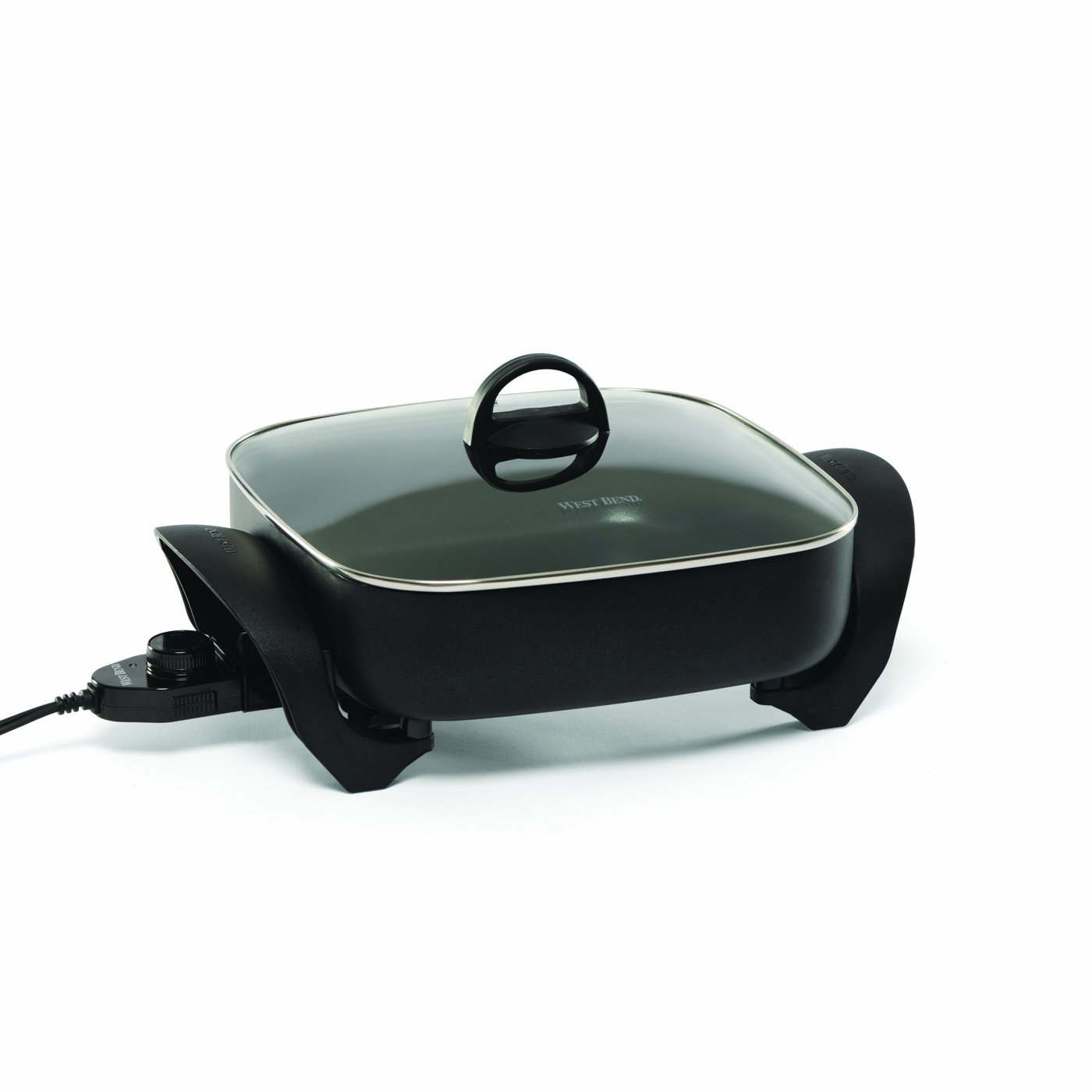 West Bend 72212 Electric Extra-Deep Square Nonstick Skillet, 12-Inch, Black