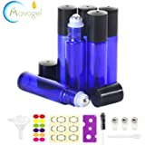 24,10ml Roller Bottles for Essential Oils - Cobalt Blue, Glass with Stainless Steel Roller Balls by Mavogel (3 Extra Roller Balls, 54 Pieces Labels, Opener, Funnel, Dropper, Brush Included)