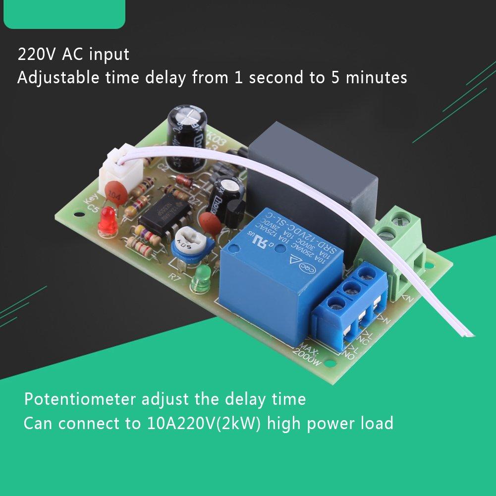 Akozon AC 220V Module de Relais de Minuterie de Temporisation/à D/éclenchement dentr/ée//Sortie 1s ~ 60s