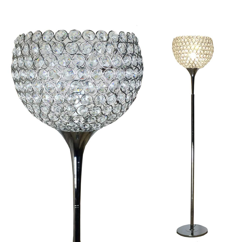 Surpars House Ball Shape Crystal Floor Lamp,Silver