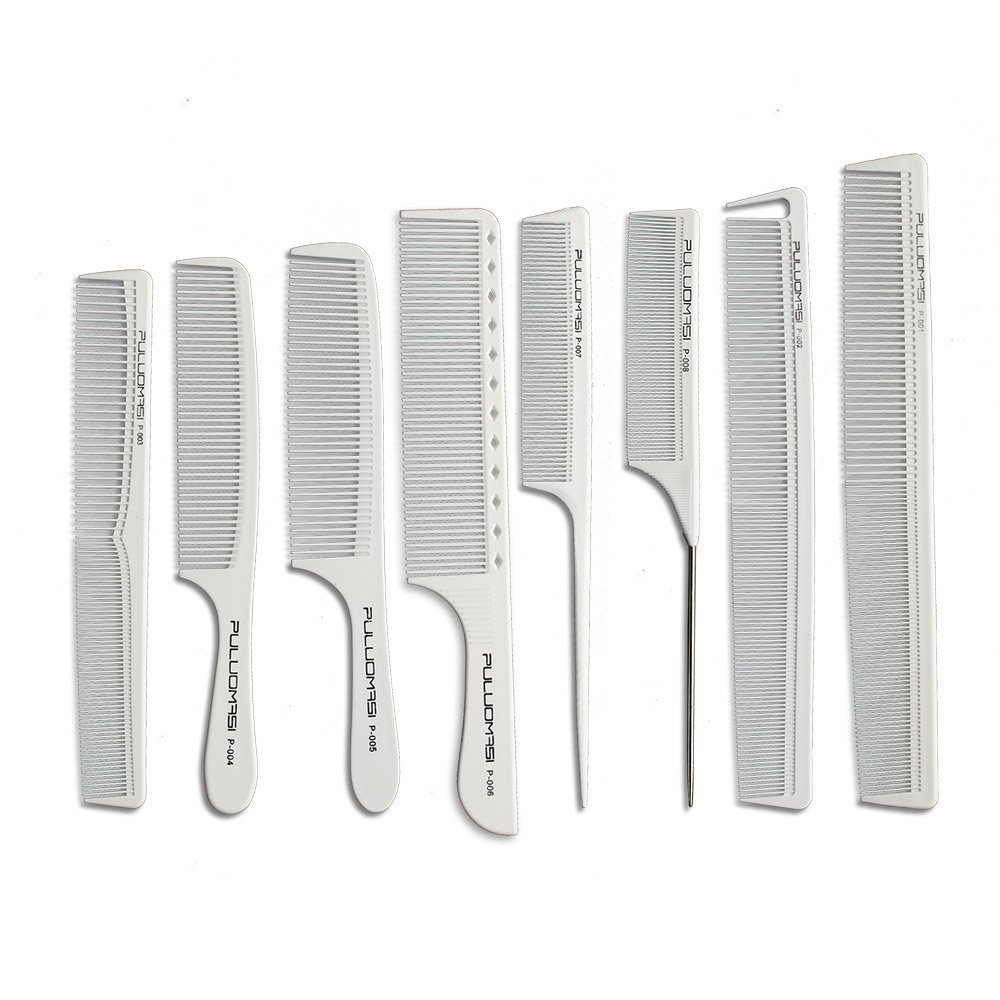 White salon professional barber carbon comb heat-resistant anti-static hair comb set of 8 hairdressers preferred Hematite