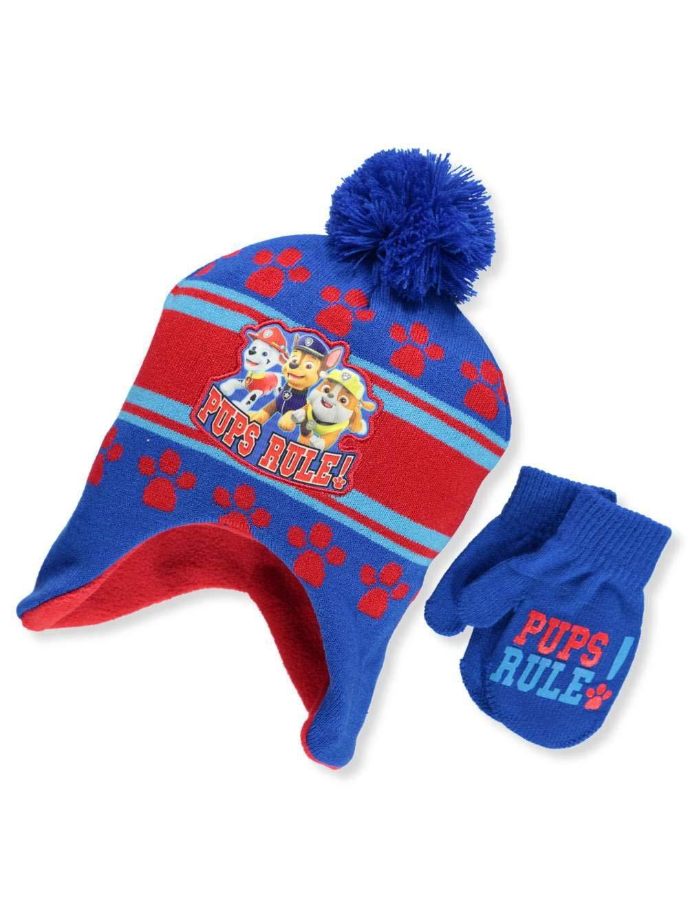 Paw Patrol Big Boys' Beanie & Mittens Set - blue/red, one size