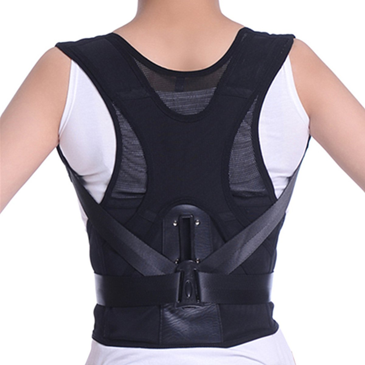 Tcare Adjustable Posture Corrector Waist Shoulder Brace Back Support, Back Lumbar Pain Relief Belt (M)