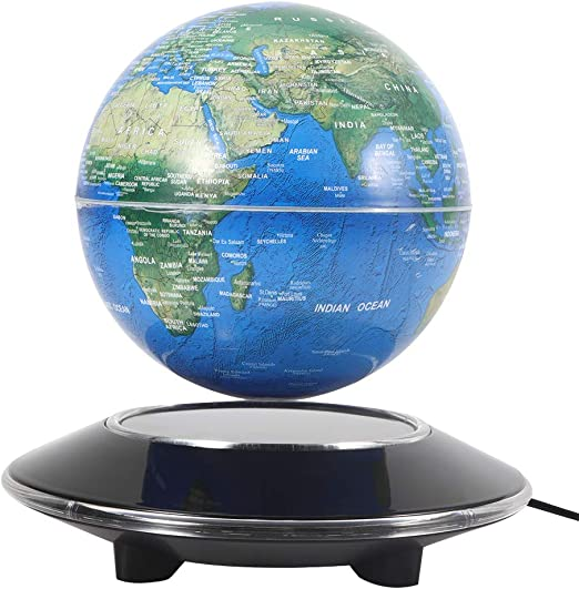 Black Floating Globe with Colored LED Lights C Shape Anti Gravity Magnetic Levitation Rotating World Map for Children Gift Home Office Desk Decoration