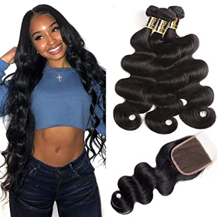 Yavida 8A Capelli Umani Brasiliani Tessitura con Chiusura Remy Brasilian  Human Hair Extension Capelli Veri con 5a172cd64957