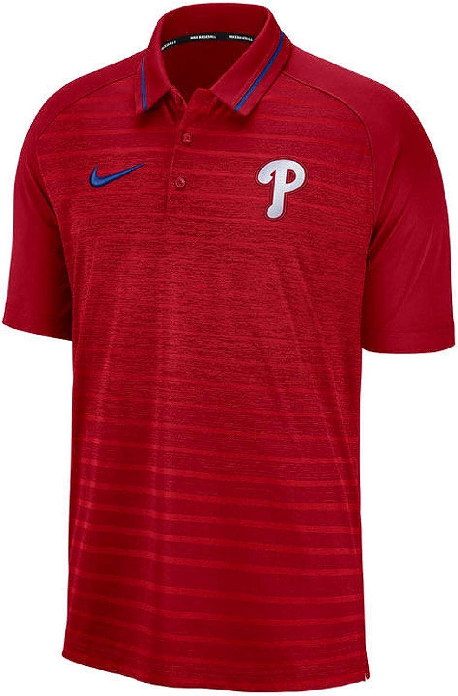 Nike Men's Philadelphia Phillies Red Game Stripe Raglan Sleeve Polo : Clothing