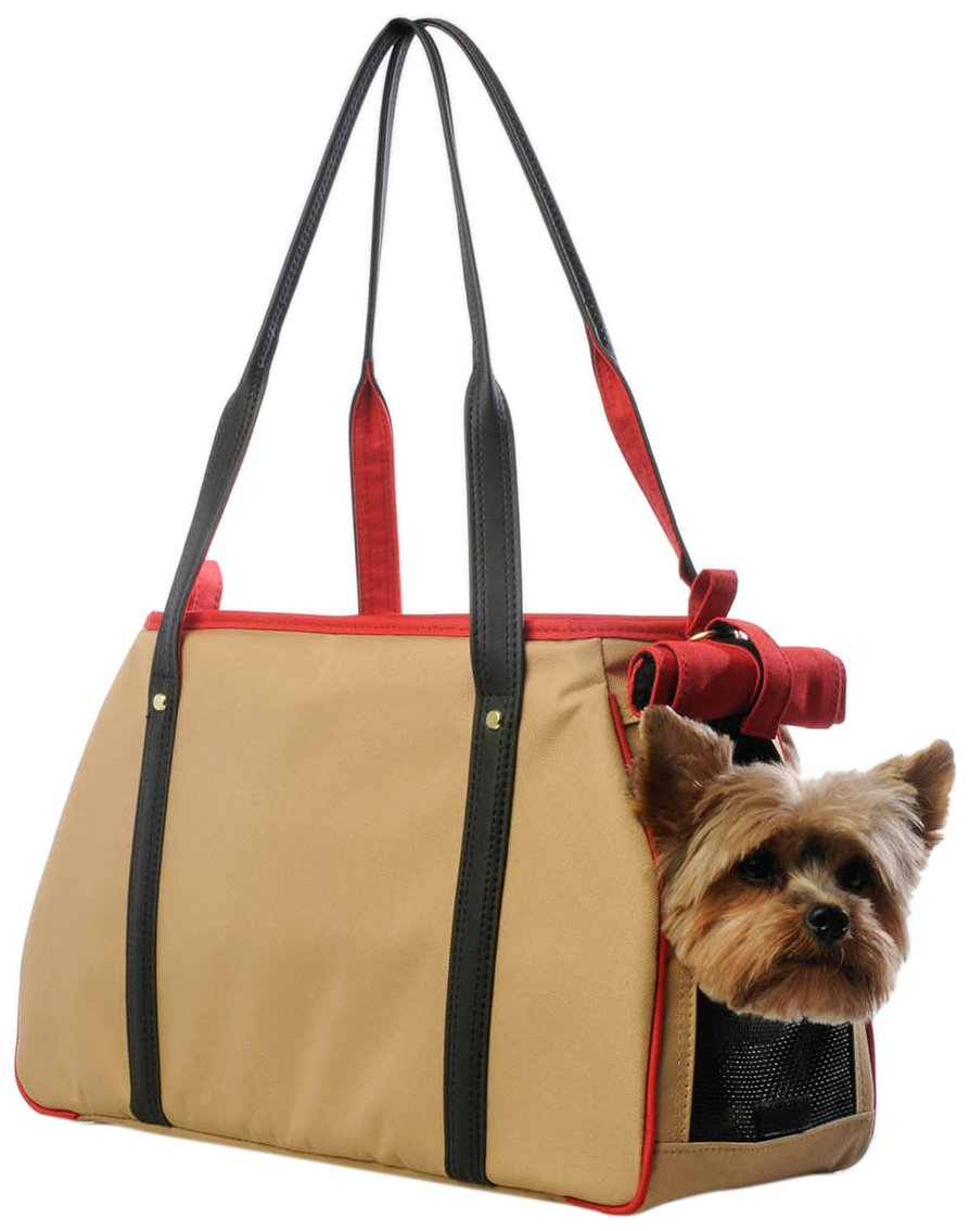 Petote Charlie Pet Carrier Bag, Khaki/Black/Red
