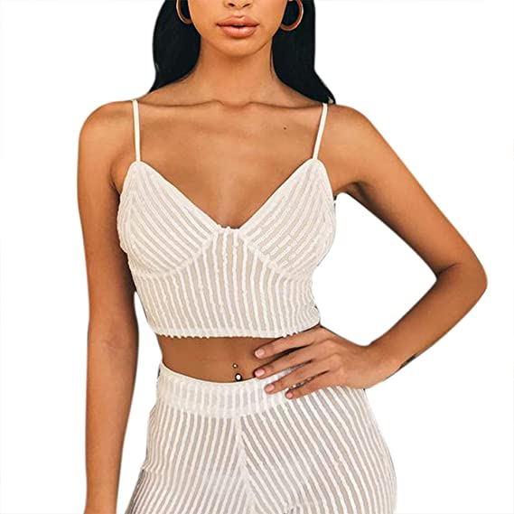 Details about  /Sexy Women Sleeveless Tight Cropped Tank Tops Summer Party Club Front Chain Vest