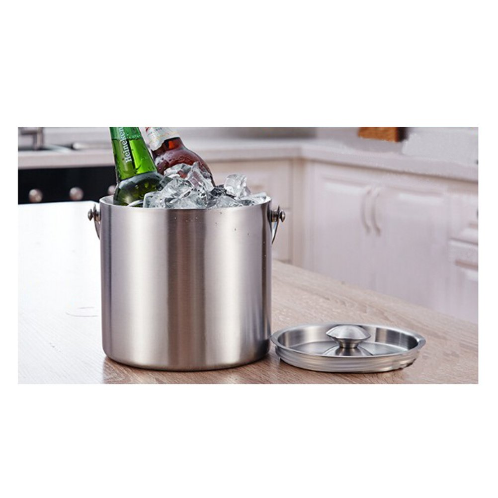 BESTONZON Premium Stainless Steel Ice Bucket with Strainer and Tong Beer Wine Champagne Cooler (2L) by BESTONZON (Image #6)