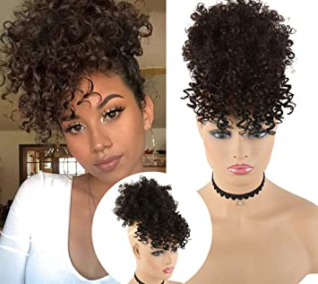 Amazon Com Chooh Afro High Puff Hair Bun Black Wig With Bangs Synthetic Short Kinkys Curly Pineapple Pony Tail Clip In On Wrap Updo Hair Extensions For African American Women 2 Beauty