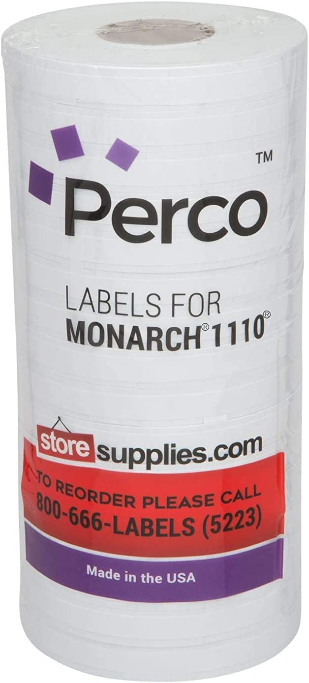 White Pricing Labels for Monarch 1110 Price Gun – Sixteen Rolls, 17, 000 Pricemarking Labels – Bonus Ink Roll Included : Office Products