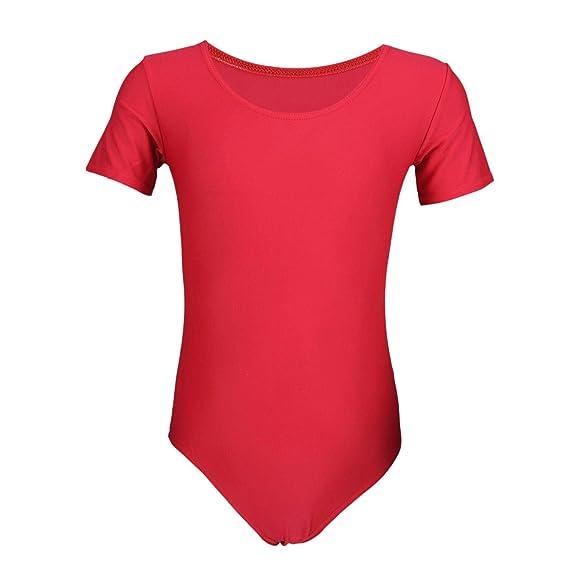 Aquarti Mädchen Kurzarm Ballettanzug Einfarbig