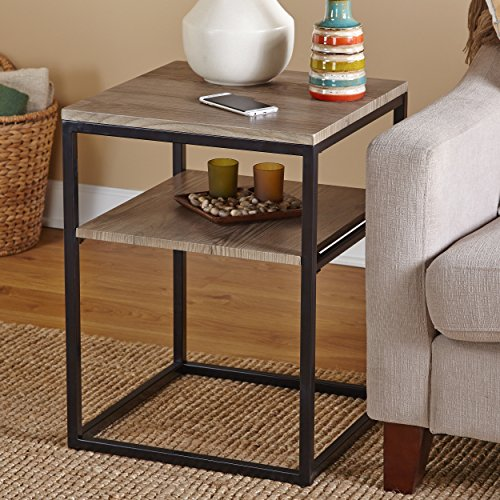 Target Marketing Systems Piazza Collection Modern Reclaimed Sleek End Table With Open Shelf, Wood/Metal by Target Marketing Systems (Image #2)