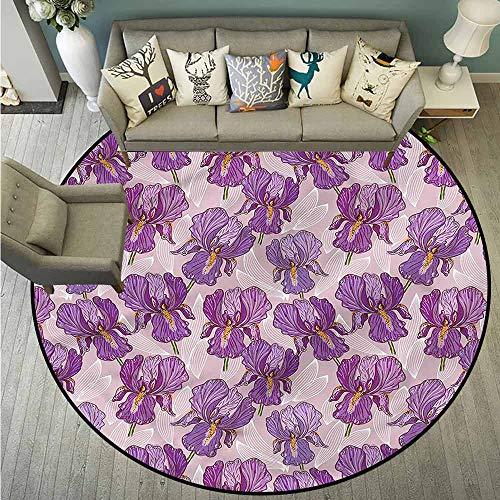 Shaw Garden Rug - Non-Slip Round Rugs,Violet,Hand Drawn Garden Design,Anti-Slip Doormat Footpad Machine Washable,3'7