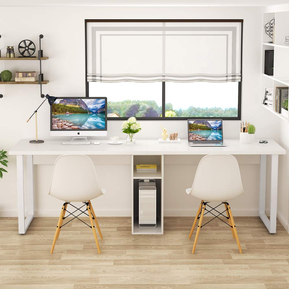 - Double Computer Desk W/ Shelf 78'' Extra Large Long Writing Table