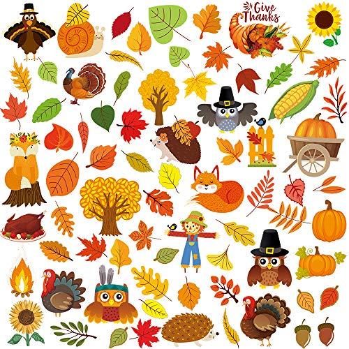 SUPLA 7 Sheets 102 Pcs Thanksgiving Window Clings Fall Window Stickers Decals Featuring Turkey Fall Maple Leaves Pumpkin Acorn Cornucopia Indian Corn for Autumn Harvest Festival Seasonal Decorations
