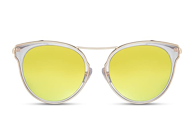 Cheapass Sunglasses Round Lenses Mirrored Gold Yellow UV400 Metal:  Amazon.co.uk: Clothing