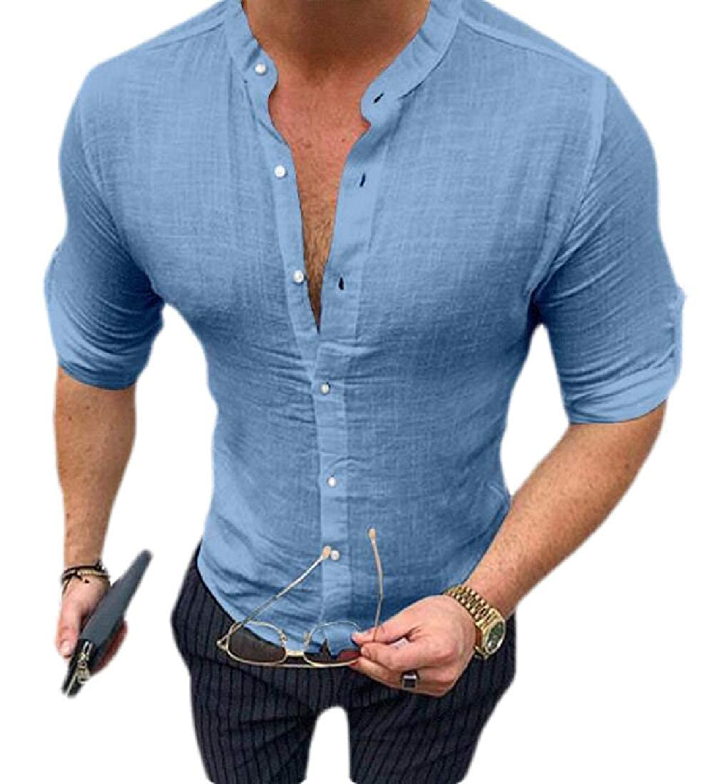 HANA+Dora Men Casual Cotton Linen Banded Collar Button Down Shirts
