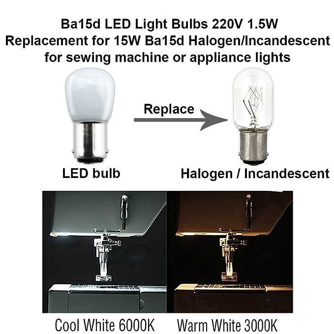 Bonlux 2-packs 1.5W 220V BA15D LED Bombilla para la Iluminación de Máquina de Coser, El Refrigerador con 70 Lúmenes, Reemplazo de 15W(Luz Cálida 3000K): ...