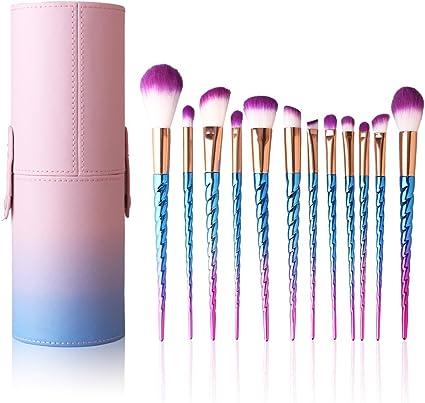 Kit de maquillaje con 12 unidades - Una bonita caja de brochas y pinceles para maquillaje con