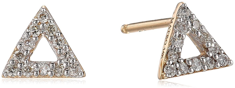 48621b60a Amazon.com: MATEO 14k Gold Mini Diamond Triangle Stud Earrings: Jewelry