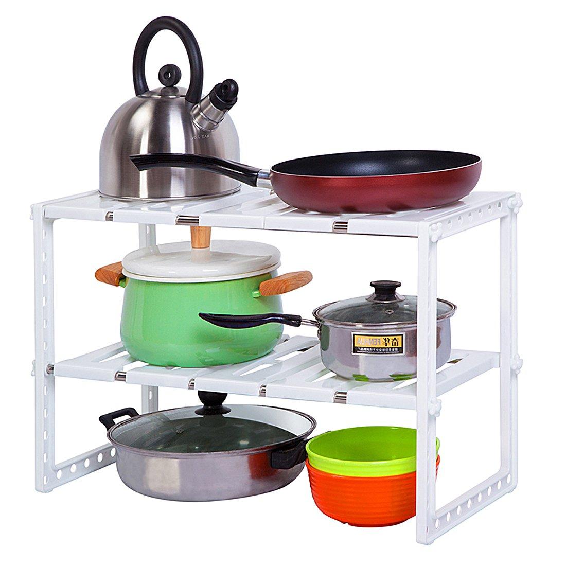 YOMYM Under Sink Organizer 2 Tier Expandable Adjustable Shelf with Removable Panels Kitchen Cabinet Storage Organizer, White