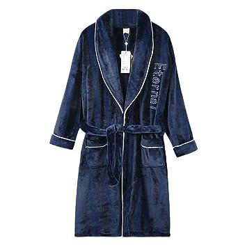 Batas de camisón para Hombres Pijamas Largos Gruesos Franela Servicio a Domicilio Albornoz Albornoz Pijamas de Terciopelo Toga (Color : 1, ...