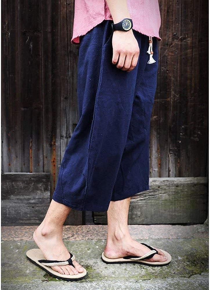 2018 Nuevos Hombres De Esencial Pantalones Deporte De Hombres Los Estilo Chino con Cord/ón De Lino De Algod/ón Pantalones Cosechados Sueltos Pantalones Casuales De Verano