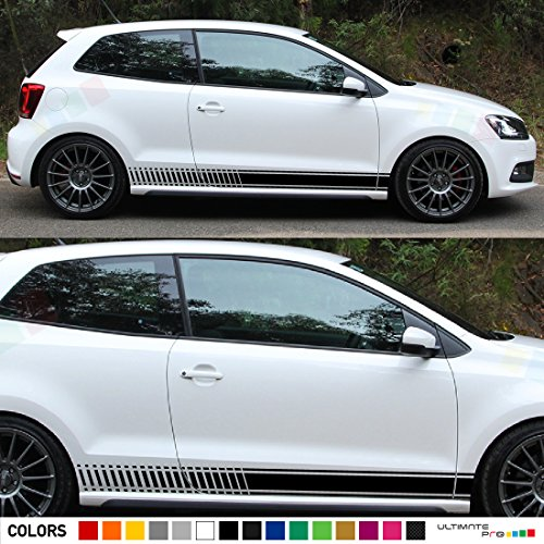 2x Decal Sticker Vinyl Side Racing Stripes Compatible with Volkswagen VW Polo GTI R Mk3 Mk4 Mk5