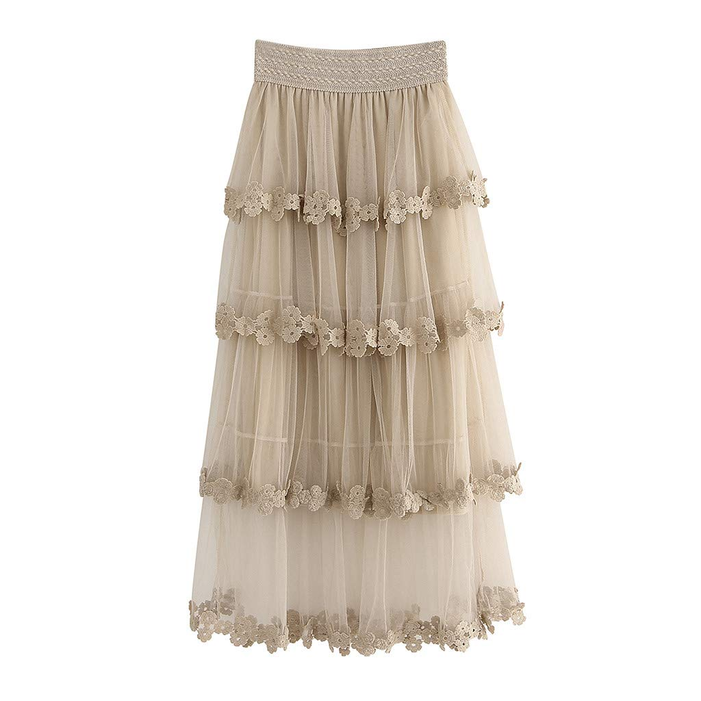 cfff751768 Women Summer Mesh Skirt 50s Vintage Embroidery A Line Lace Tulle Tutu Pleated  Midi Skirt (Free, Beige) at Amazon Women's Clothing store: