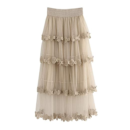 cb72ddea9f43c2 Women Summer Mesh Skirt 50s Vintage Embroidery A Line Lace Tulle Tutu  Pleated Midi Skirt (