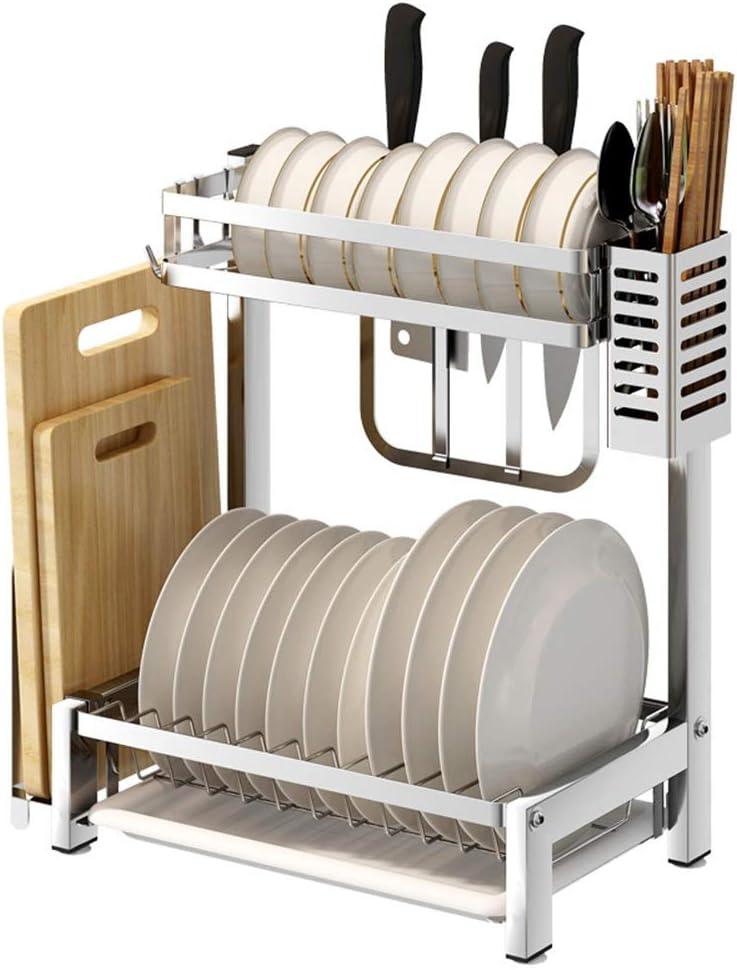 水切りラック 耐久性のあるステンレス鋼のキッチンラック乾燥ラックテーブルトップボウルラック食器収納ボックス食器収納ラックドレン キッチン用品 収納棚 (Color : Picture Color, Size : Picture Size)