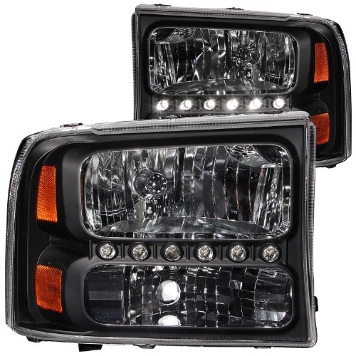 Headlights 1 Piece Euro (Anzo USA 111106 Ford Black Amber Headlight Assembly - (Sold in Pairs))