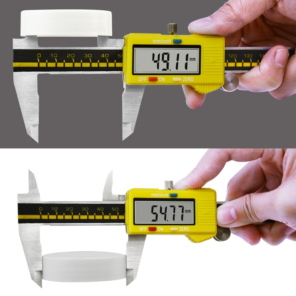 Digital Caliper Stainless Steel Body Electronic Gauge Vernier with LCD Screen High Precision 150mm/6inch Measuring Tool Inch/Metric Conversion (Yellow) by pcmos (Image #4)