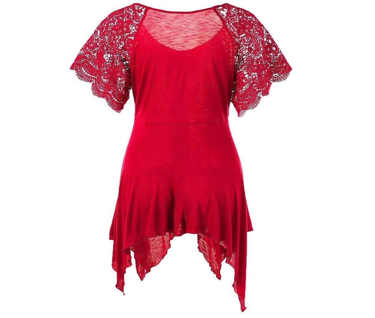 ABASSKY Dress for Women, Casual O-Neck Bandage High Waist Short Sleeve Lace Floral Patchwork Irregular Mini Dress