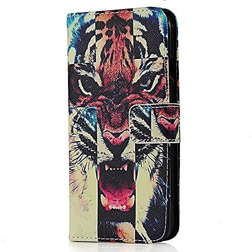 Flip Case Cover Wallet Folio Schutzhülle für iPhone 6 4.7 Zoll Tiger Design Schwarz Tasche Ledertasche Hülle Handyhülle Etui Schale Backcover im Bookstyle mit Standfunktion Kredit Kartenfächer