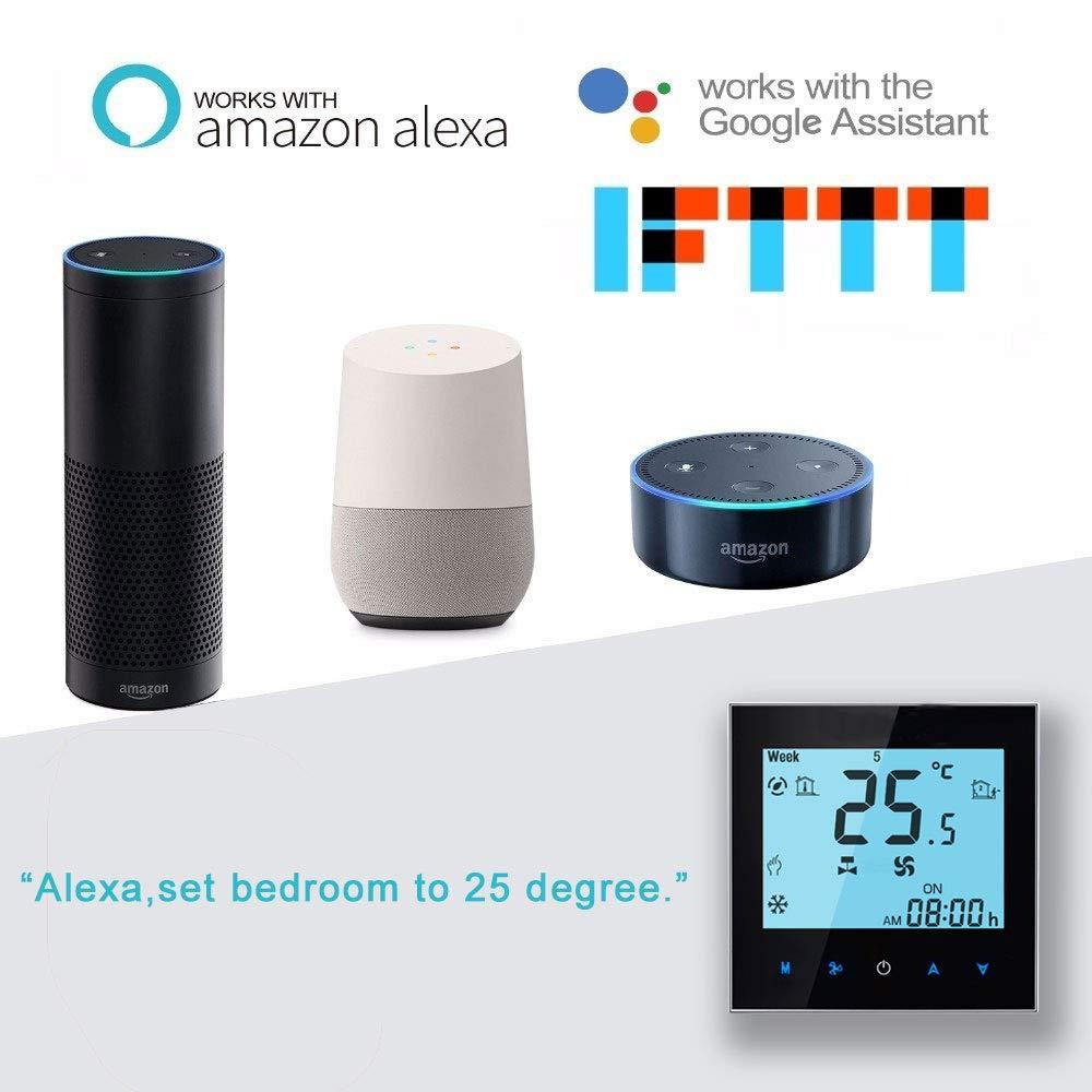 Arxus WiFi Programmabile Termostato Intelligente Display LCD Termoregolatore per Riscaldamento//Condizionamento della Caldaia Lavora con Alexa Google Home IFTTT